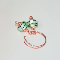 Mint green glass and copper hoop earrings