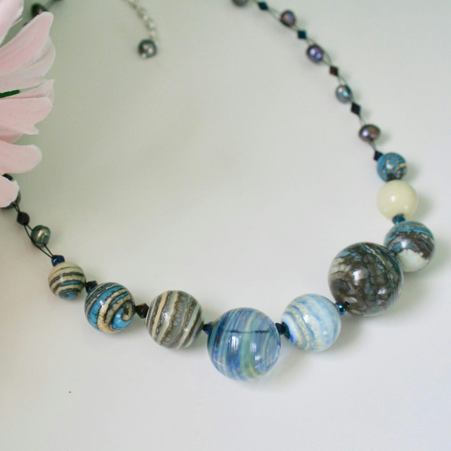 'Milky Way' blown glass and pearl necklace