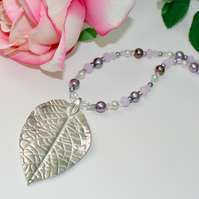 Silver leaf and lilac beaded necklace