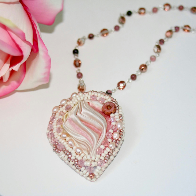 Rose and cream shibori ribbon and bead embroidery necklace
