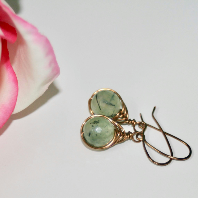 Wire-wrapped prehnite earrings