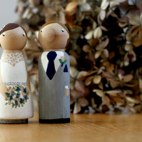 Large wedding day bride and groom peg dolls