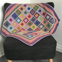 Muted Pastel Coloured Granny Square Crochet Blanket