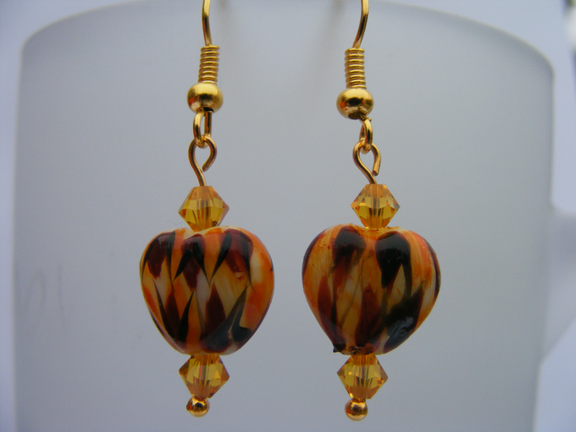 Bengal Tiger Bead and Swarovski Crystal Earings