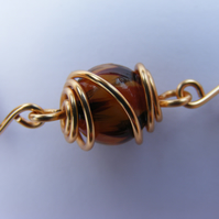 Bengal Tiger Bead and Gilt Wire Wrapped Bracelet
