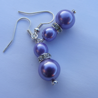 Lilac Pearl and Crystal Drop Earings