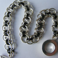 Black and Silver Parallel Weave Chainmaille Bracelet