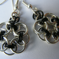 Black and Silver Chainmaille Earings