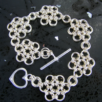 Sterling Silver Daisy Chain Chainmaille Bracelet