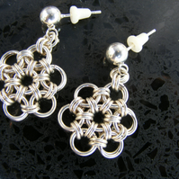 Sterling Silver Daisy Chain Chainmaille Earlings