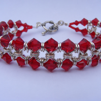 Sterling Silver and Red Swarovski Crystal Chainmaille Bracelet
