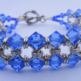 Sterling Silver and Swarovski Crystal Chainmaille Bracelet