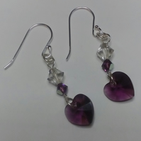 Sterling Silver and Amethyst Swarovski Crystal Earrings