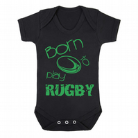 Born to Play Rugby funny babygrow onesie