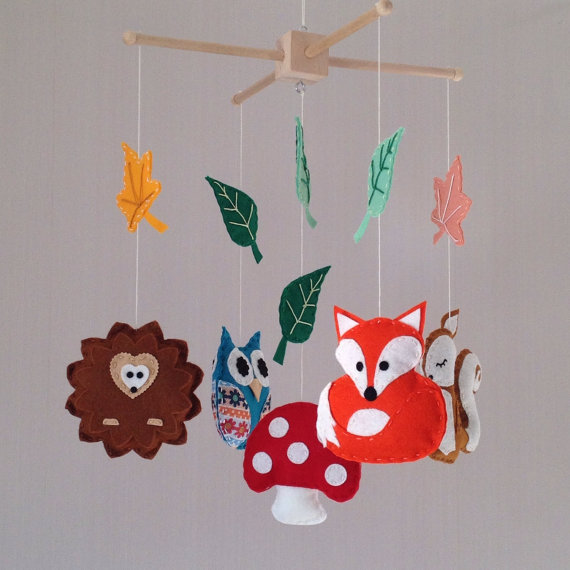 Baby Mobile Woodland Animals Cot Folksy