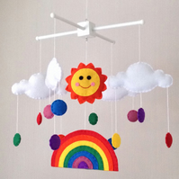 Rainbow baby mobile - Cot mobile - Sun, rainbow and multicoloured raindrops