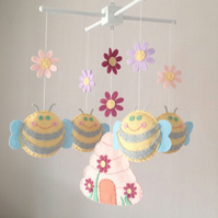 Baby mobile - Bees and Beehive - Flowers baby mobile - Cot mobile