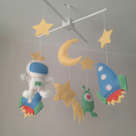 Space Baby Mobile - Cot mobile - Boys nursery decor