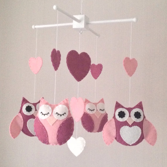 Owl baby mobile - Cot mobile - Pink baby mobile
