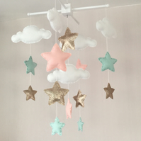 Baby mobile - Cot mobile - clouds and stars - Baby girl mobile