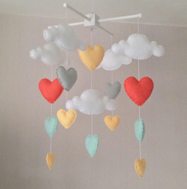 Baby mobile - Cot mobile - clouds and hearts - Cloud Mobile - Baby girl mobile