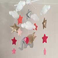 Elephant baby mobile - Clouds, stars and elephant - pink, coral, silver and Gold