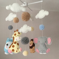 Animal Baby mobile - cloud mobile - jungle animals