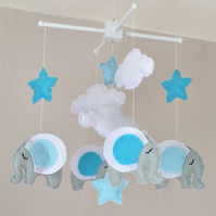 Elephant baby mobile - Boys baby mobile - Stars baby mobile