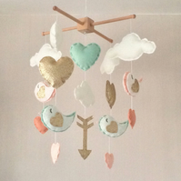 Clouds, birds, hearts and arrow baby mobile - Baby girl mobile -  nursery decor
