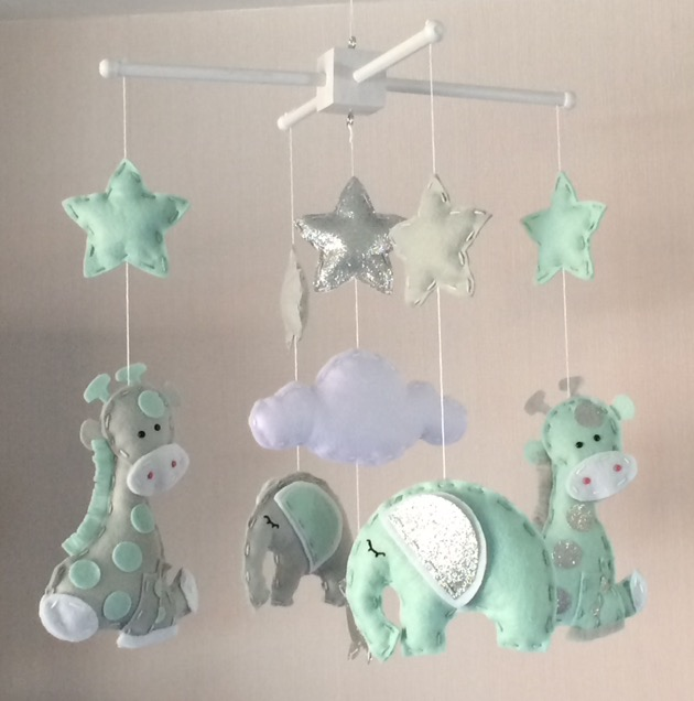Elephant and Giraffe Baby Mobile - Nursery Decor