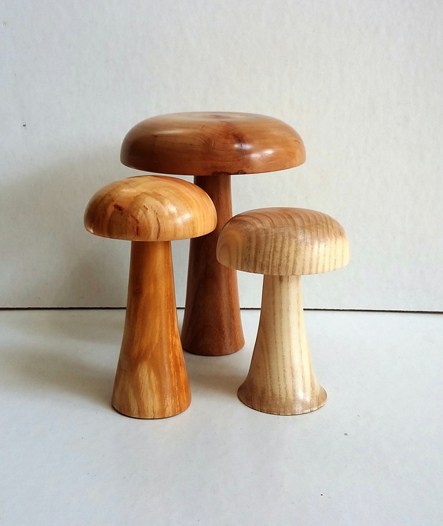 NEW! Turned wooden mushrooms 346