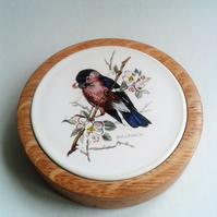 Bullfinch Ceramic and Oak Coaster 703