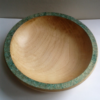 Horse Chestnut Bowl with Green and Gold Iridescent Rim 746