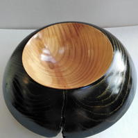 Ebonised Ash Wood Bowl with Gold Embellishing 855