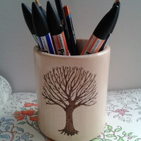 Sycamore Wood Pen or Pencil Pot with Tree Image 850