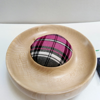 Sycamore Wood Purple Tartan Pin Cushion 869
