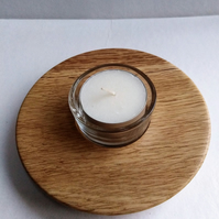 English Oak Wood Tea Light Plate 895