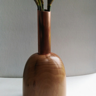 Apple Wood & Recycled Copper tube Vase 917