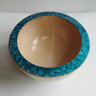 Sycamore Wood Bowl with Turquoise Iridescent Rim 946
