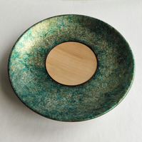 Sycamore Wood Iridescent Green & Gold Ring Dish 995