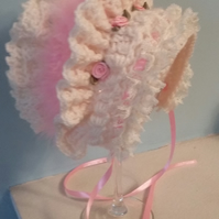 Traditional Baby Bonnet in cream and pink