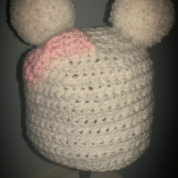 Beanie bobble bow hat in white with pink bow
