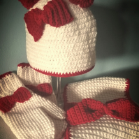 Girls bobble bow hat, scarf and mittens