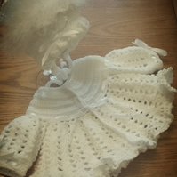 Crocheted baby matinee coat and bonnet set 0-6months or 6-12months