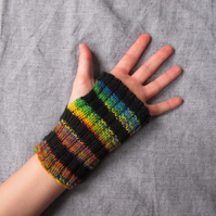 Black and rainbow striped handwarmers