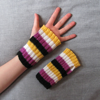 Nonbinary flag handwarmers