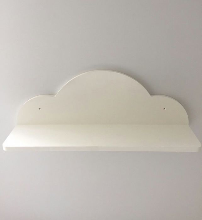 Nursery Cloud Shelf New Hand Made Painted White 70cms Wide Open Front