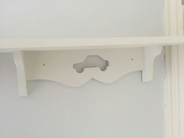 Boys Bedroom Or Nursery Shelf With Car Hand Made Painted White 60cms Sturdy