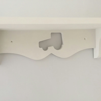 Boys Bedroom Or Nursery Shelf With Tractor Hand Made Painted White 60cms Sturdy