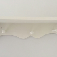 Hand Made Painted Peg Shelf 3 Shaker Pegs 80cms Solid Sturdy Nursery Kitchen etc